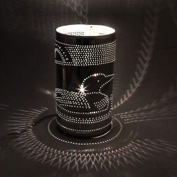 Punched Tin Lamp -Loon